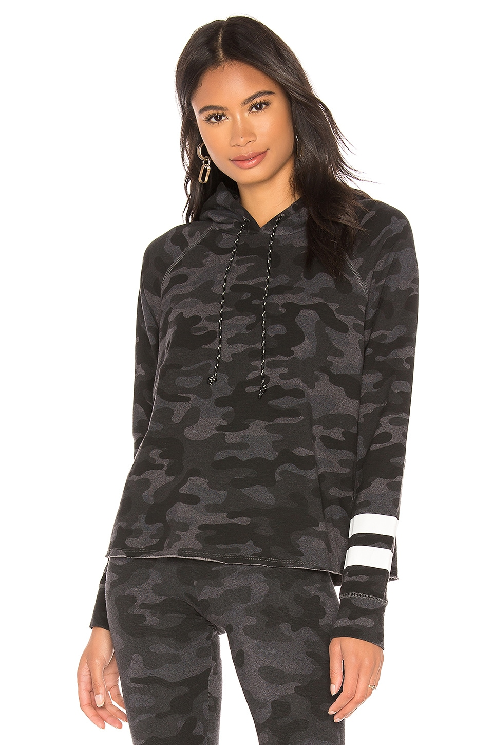 SUNDRY Stripes Camo Crop Hoodie in Charcoal