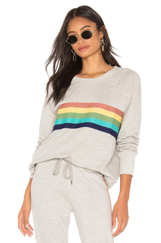 SUNDRY Rainbow Stripes Raglan Pullover in Heather Grey