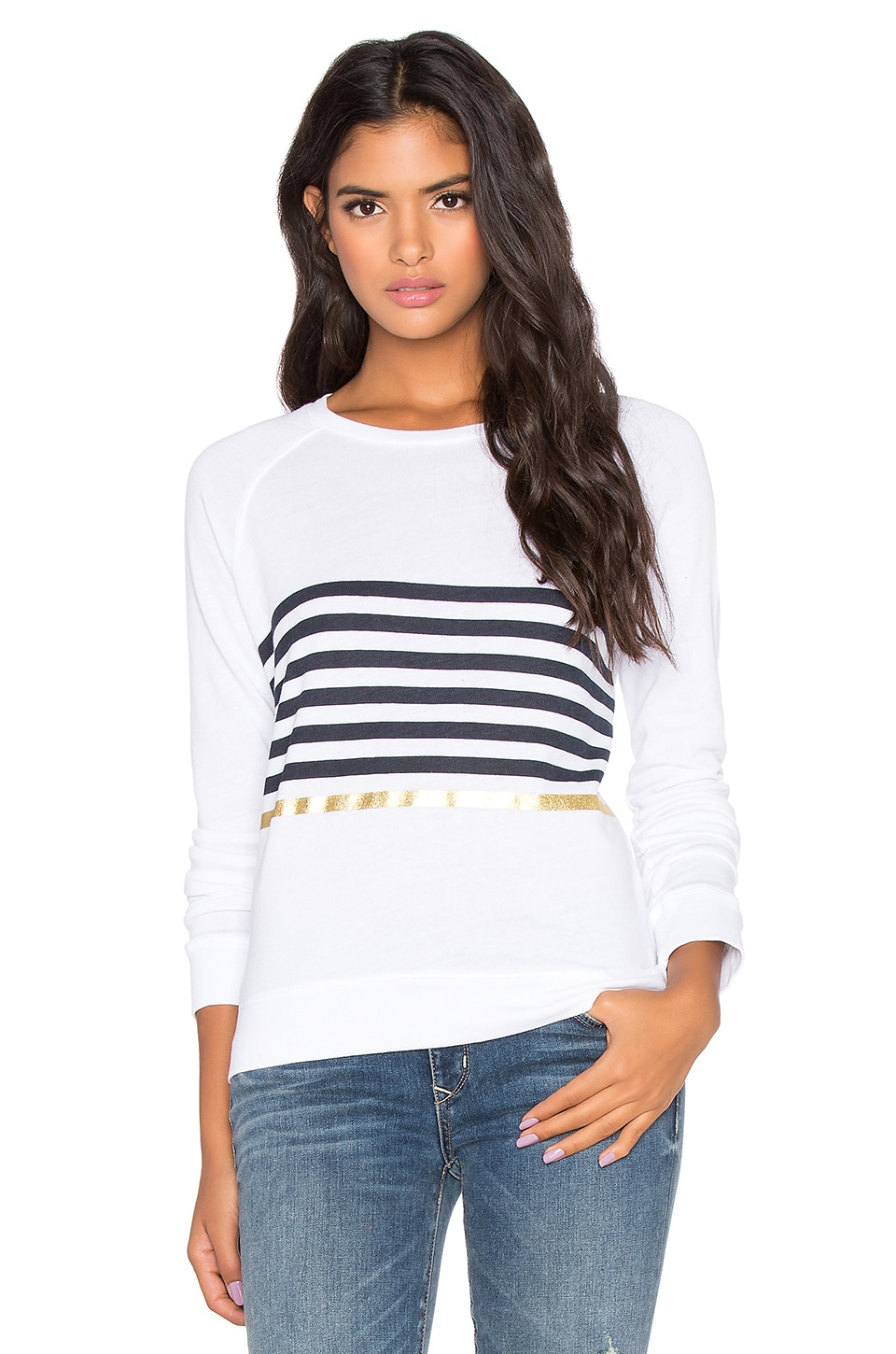 SUNDRY Basic Striped Sweatshirt in White