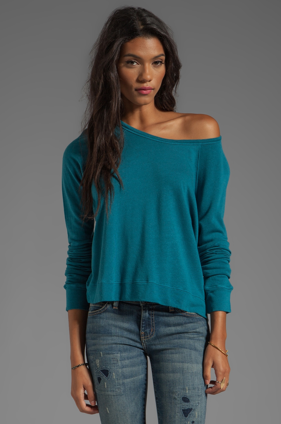 SUNDRY Cropped Pullover in Peacock