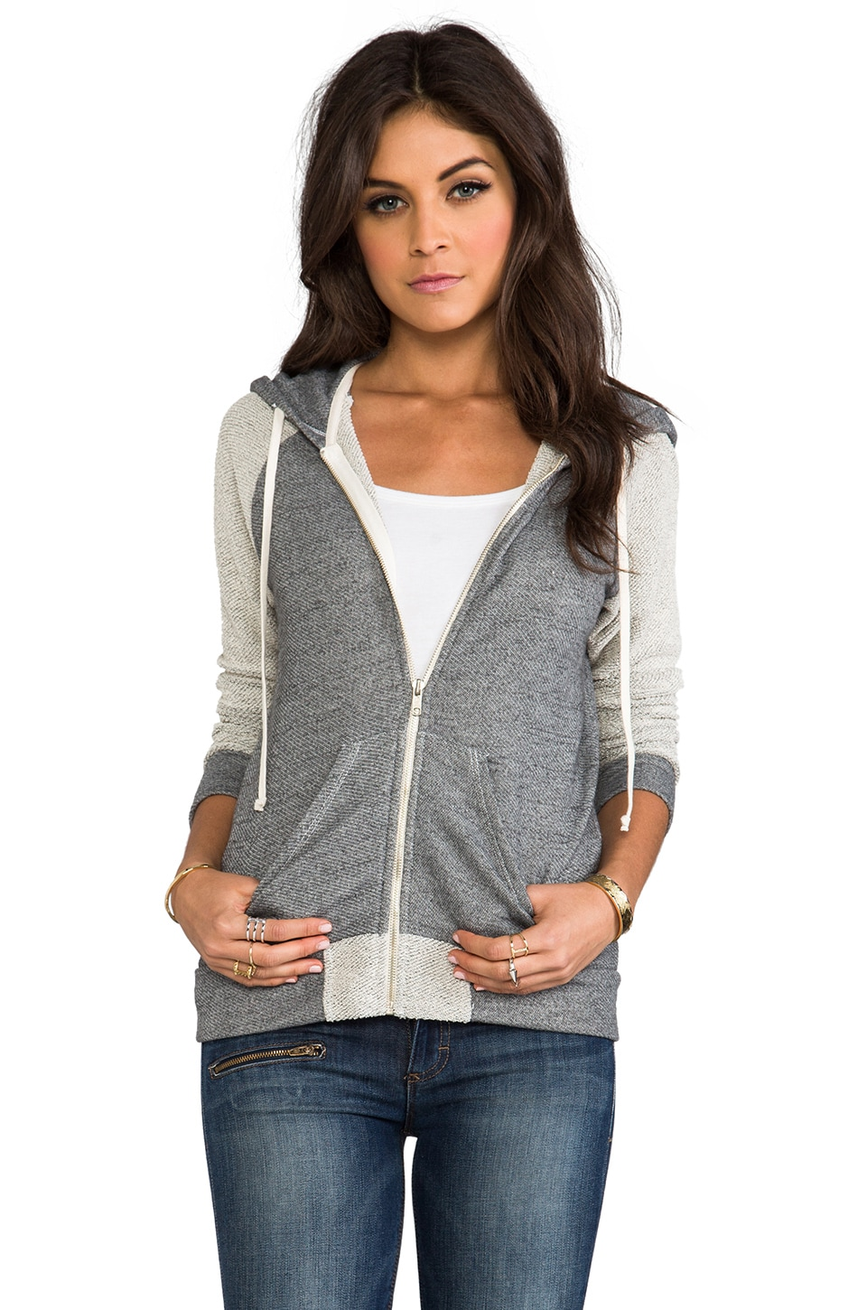 SUNDRY Texture Zipper Hoodie in Heather Grey