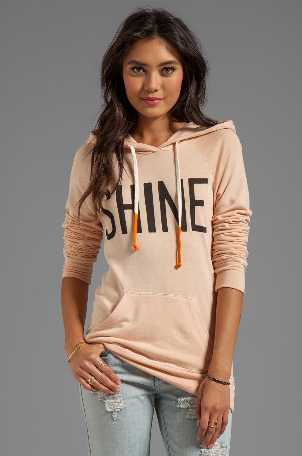 SUNDRY Shine Pullover Hoodie in Nude