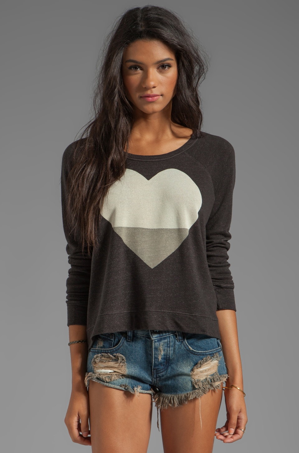 SUNDRY Heart Cropped Pullover in Old Black