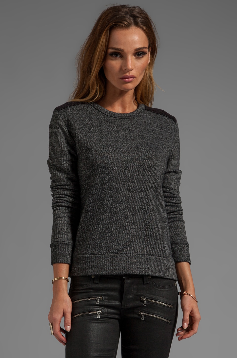 SUNDRY Terry Pullover in Heather Black