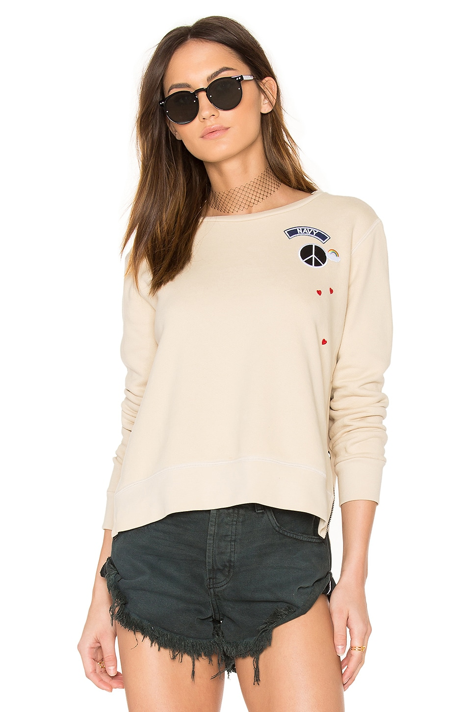 SUNDRY Zip Crew Neck Patch Sweatshirt in Khaki