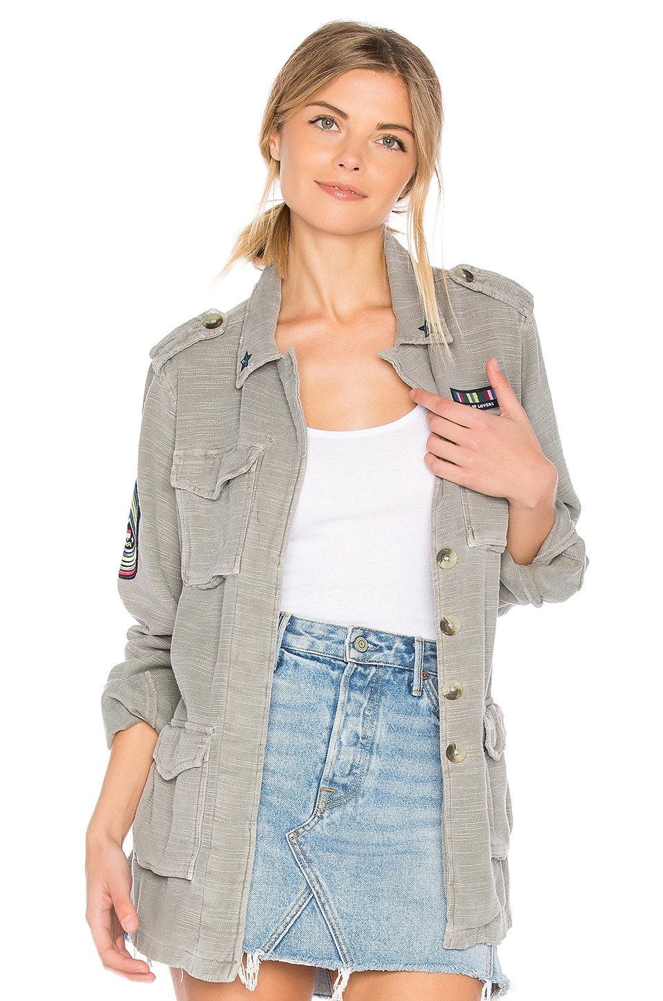 SUNDRY Patches Army Jacket in Pigment Olive