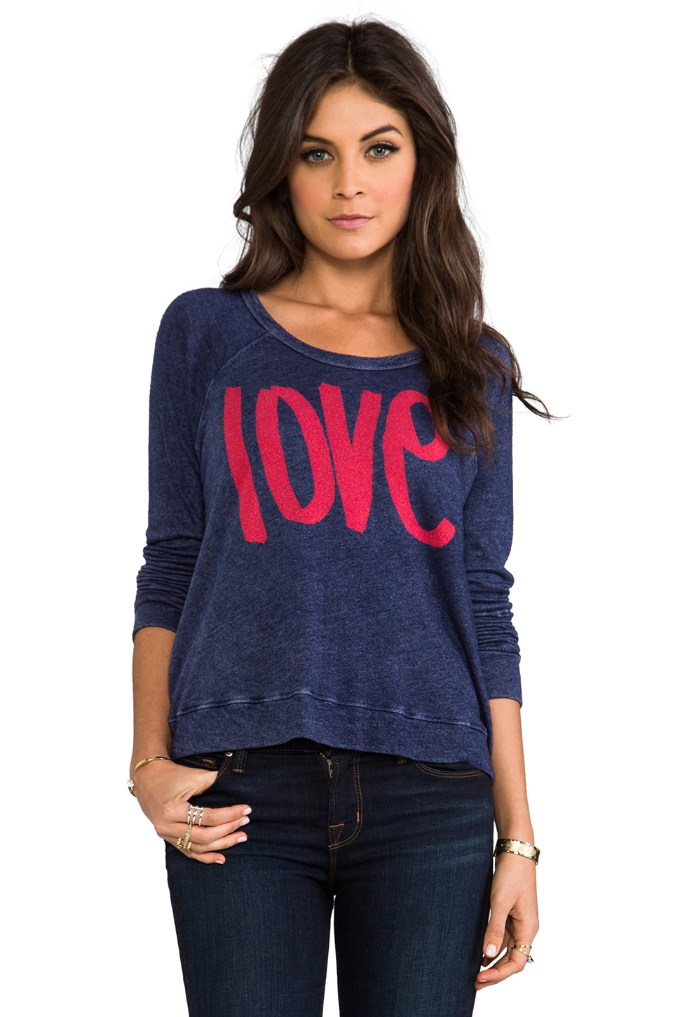 SUNDRY Love Cropped Pullover in Vintage Marine