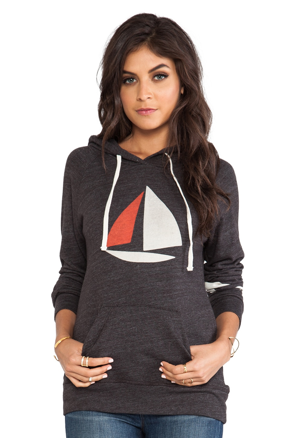 SUNDRY Mon Bateau Pullover Hoodie in Old Black
