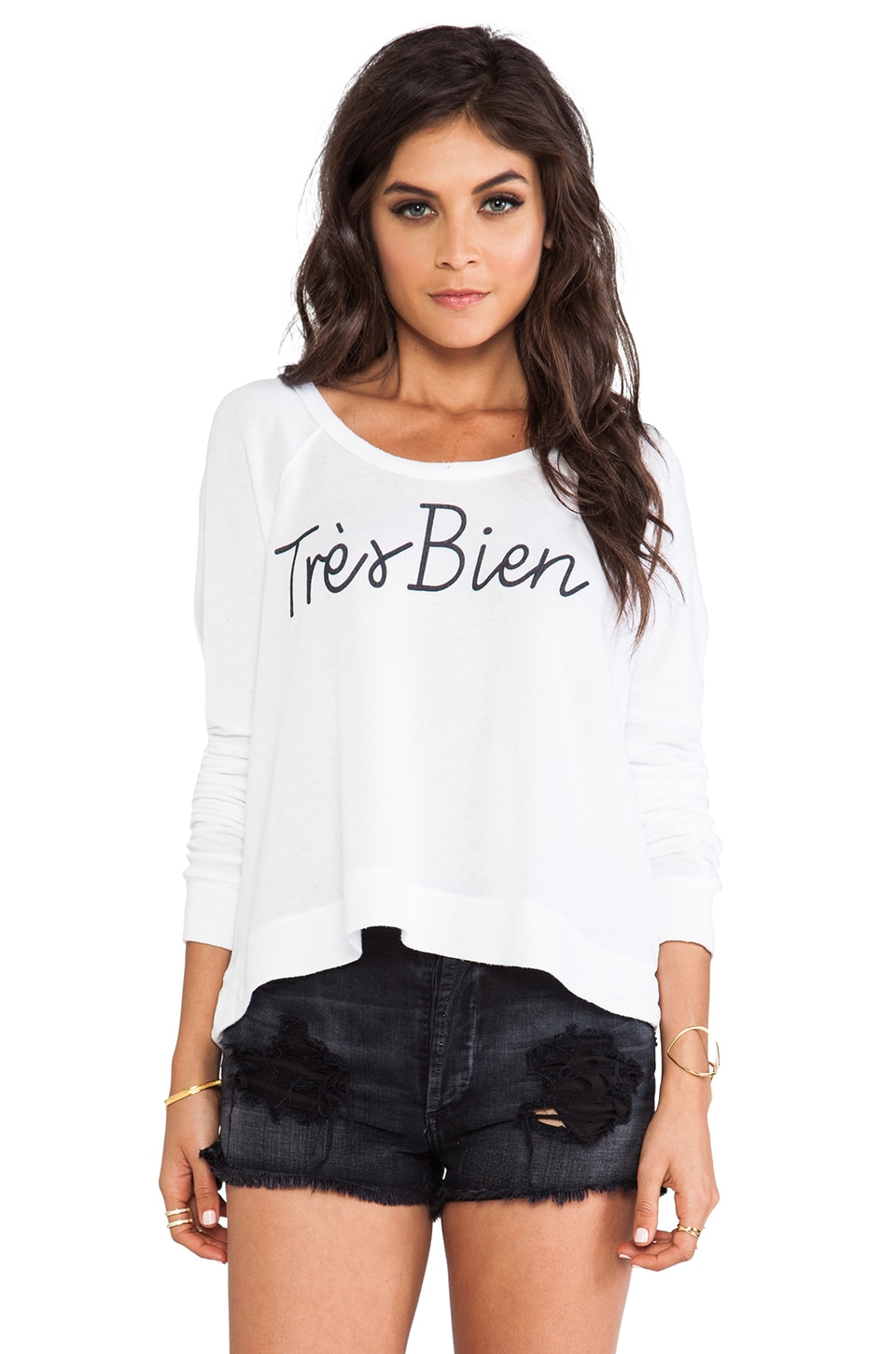 SUNDRY Tres Bien Cropped Pullover in White