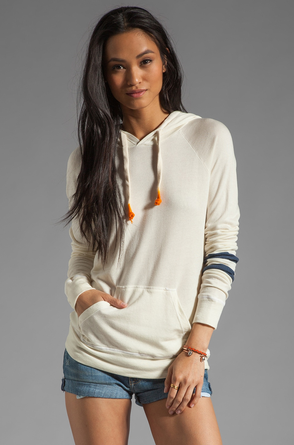 SUNDRY Stripes Pullover Hoodie in Sea Shell