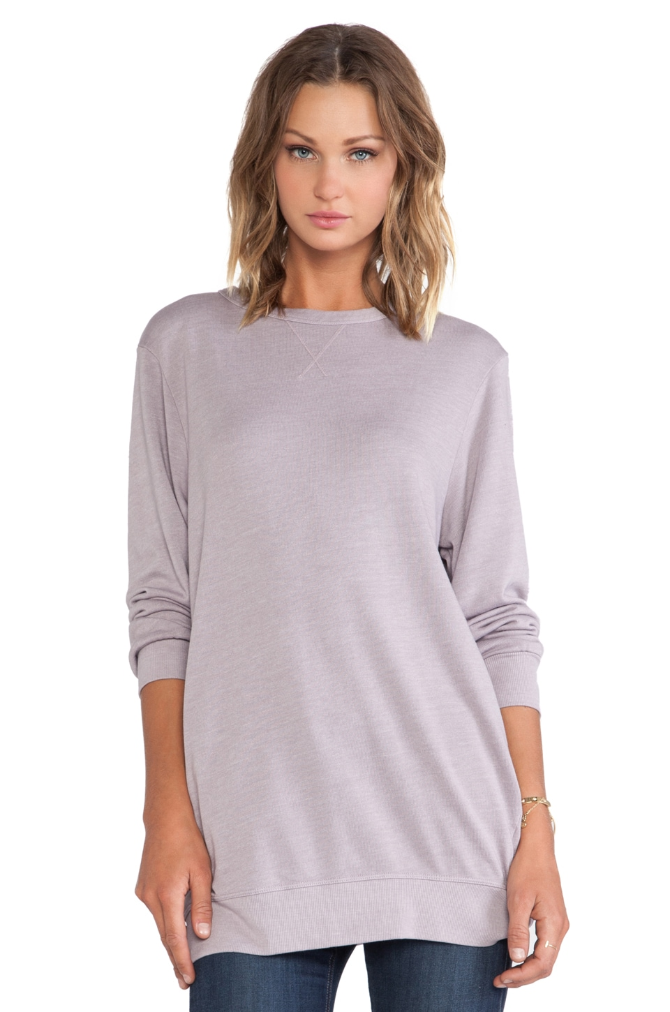 SUNDRY Long Pocket Sweatshirt in Warm Grey