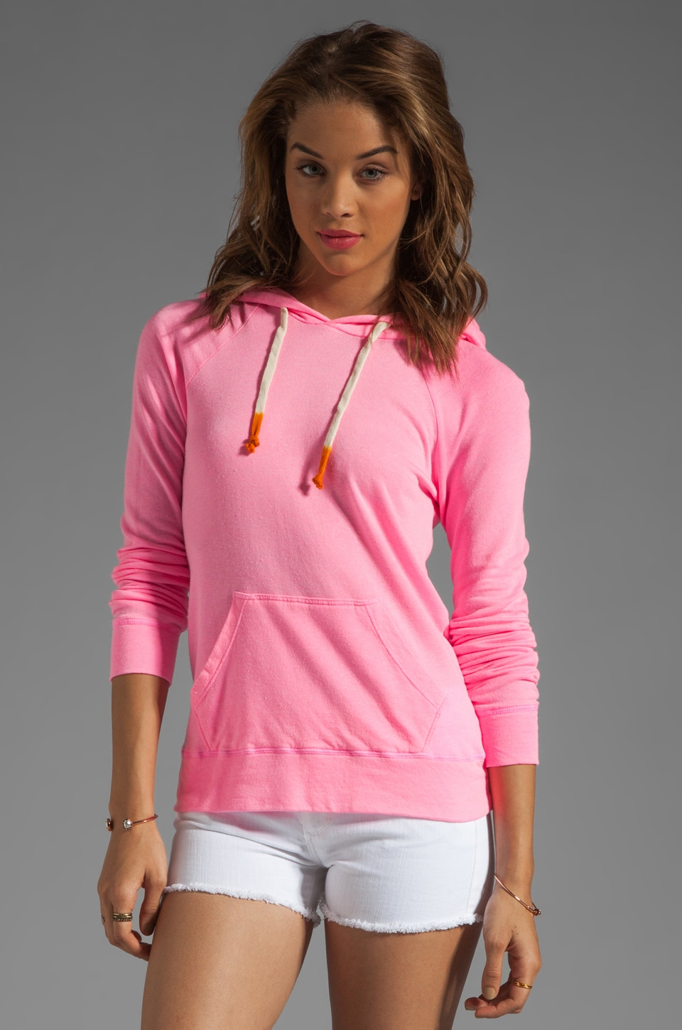 SUNDRY Light Terry Pullover Hoodie in Neon Pink