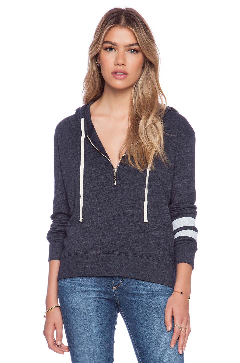 SUNDRY Mon Bateau Zipper Pullover Hoodie in Navy