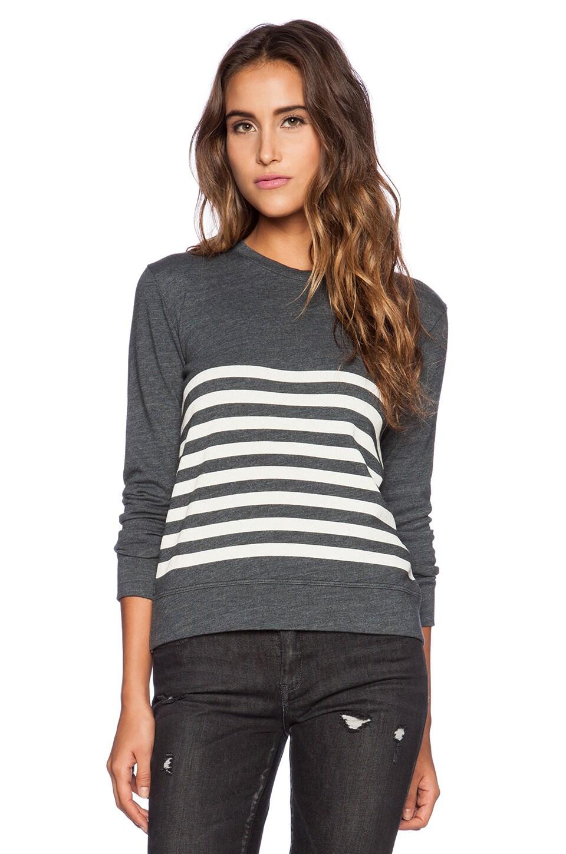 SUNDRY Stripe Basic Sweatshirt in Asphalt