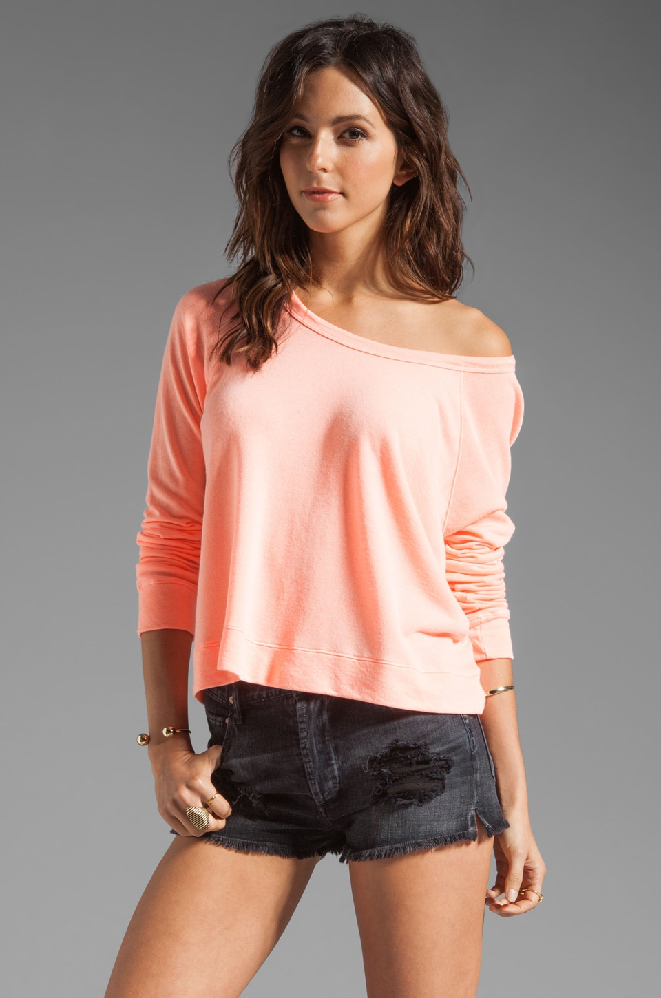 SUNDRY Light Terry Cropped Pullover in Neon Heat
