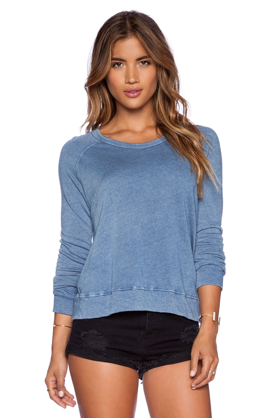 SUNDRY Cropped Pullover in Chambray