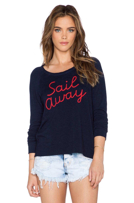 SUNDRY Sail Away Crop Sweatshirt in Deep Sea