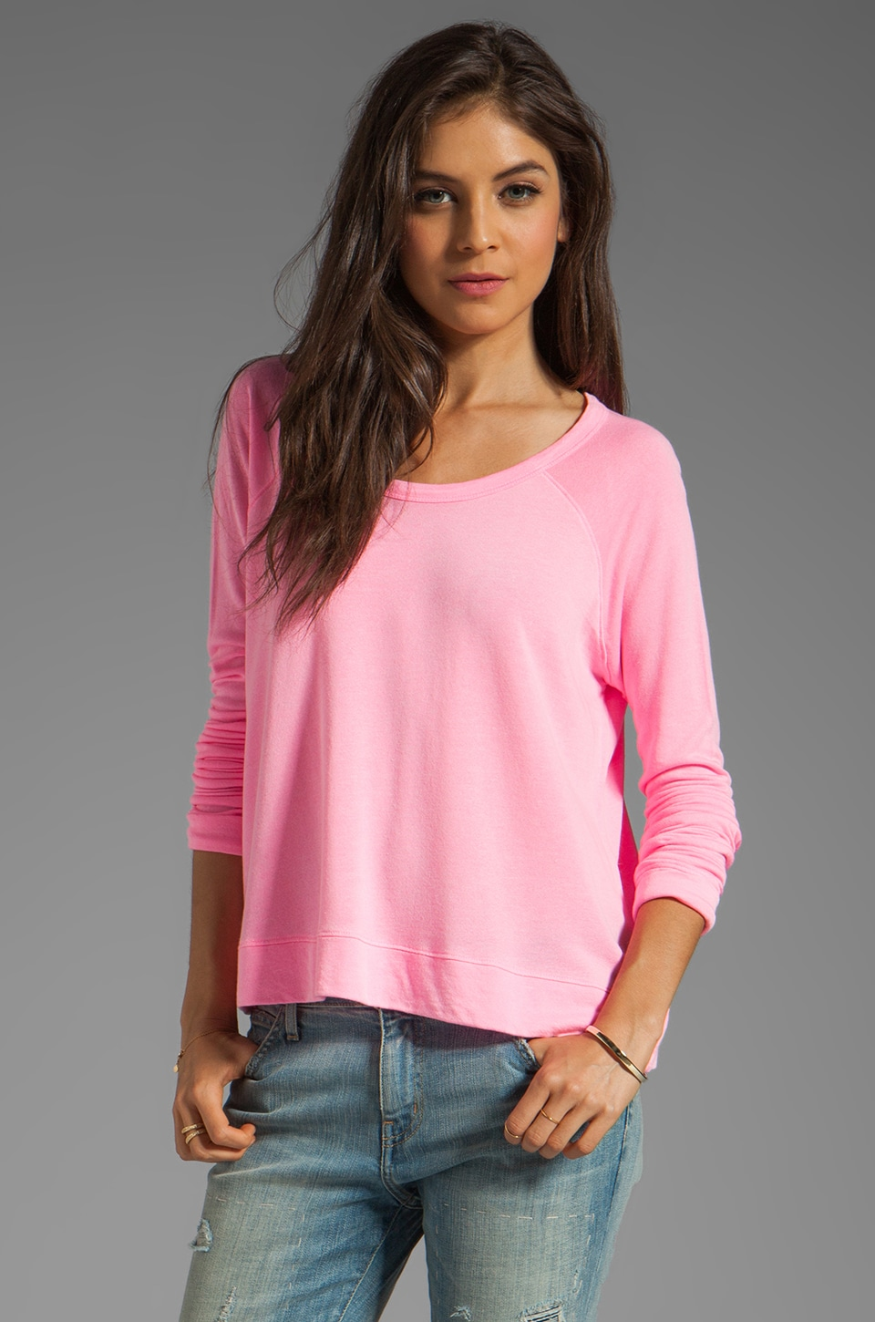 SUNDRY Cropped Pullover in Pop Pink