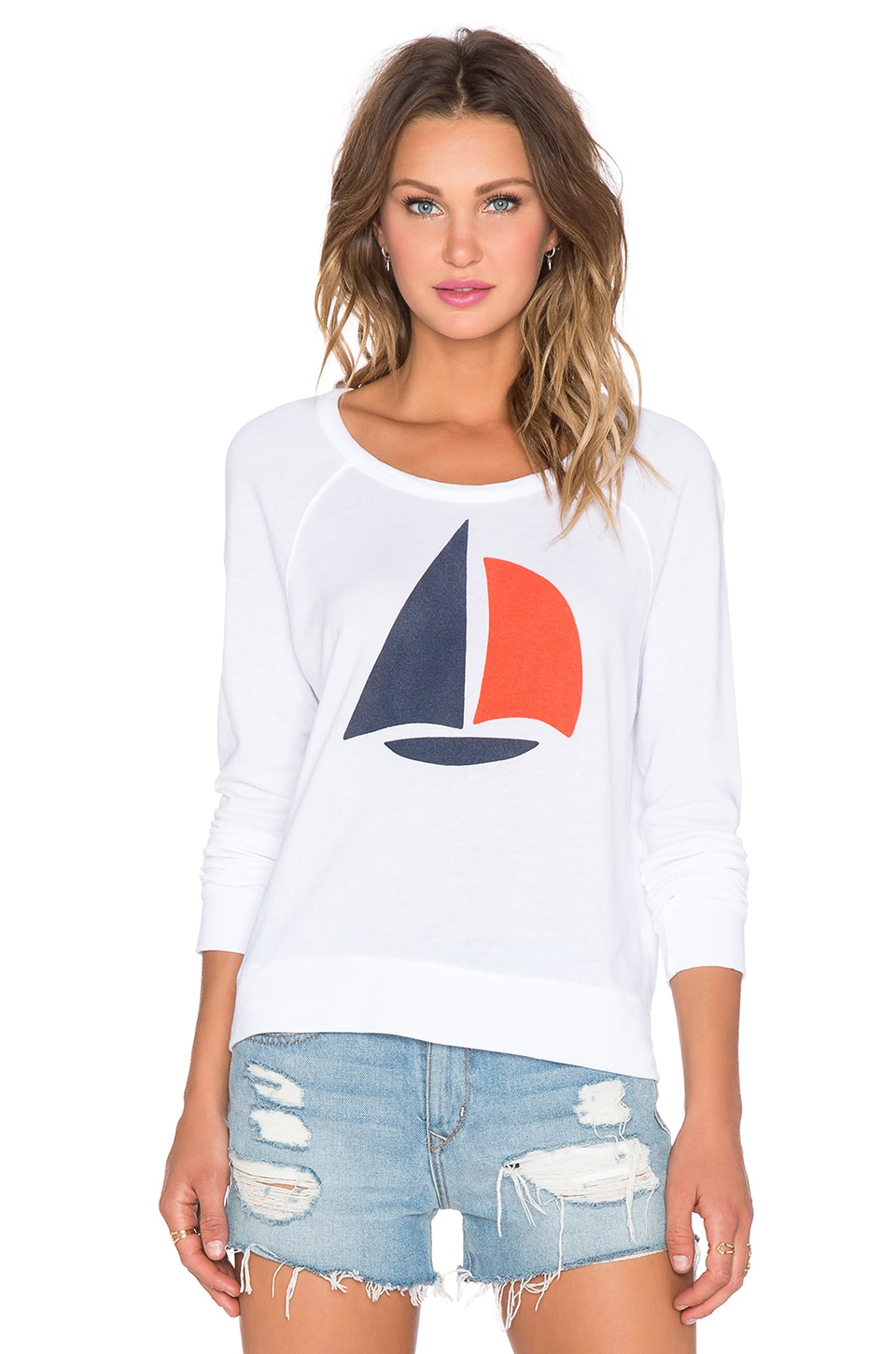 SUNDRY Sailboat Cropped Pullover in White