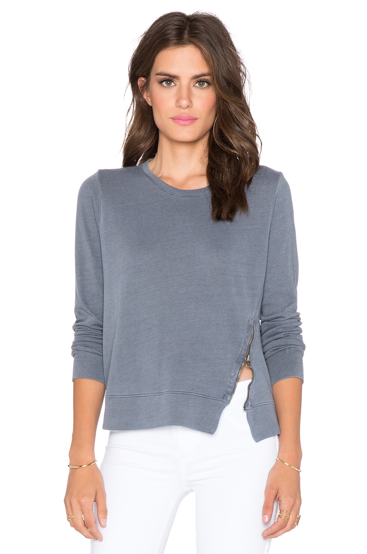 SUNDRY Zipper Pullover in Midnight Pigment