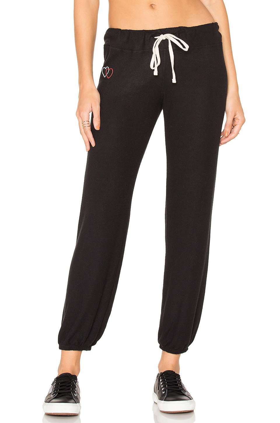 SUNDRY Heart Patch Sweatpants in Black