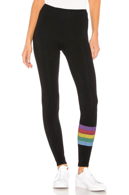 SUNDRY Rainbow Stripes Yoga Pant in Black