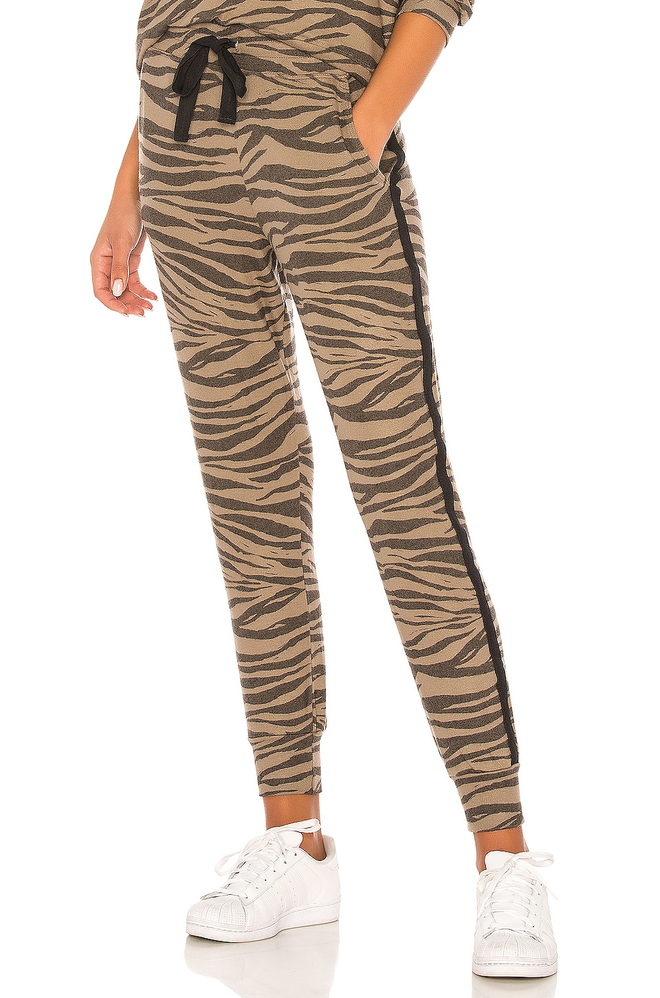 SUNDRY Zebra Print Pocket Jogger Pants in Mink