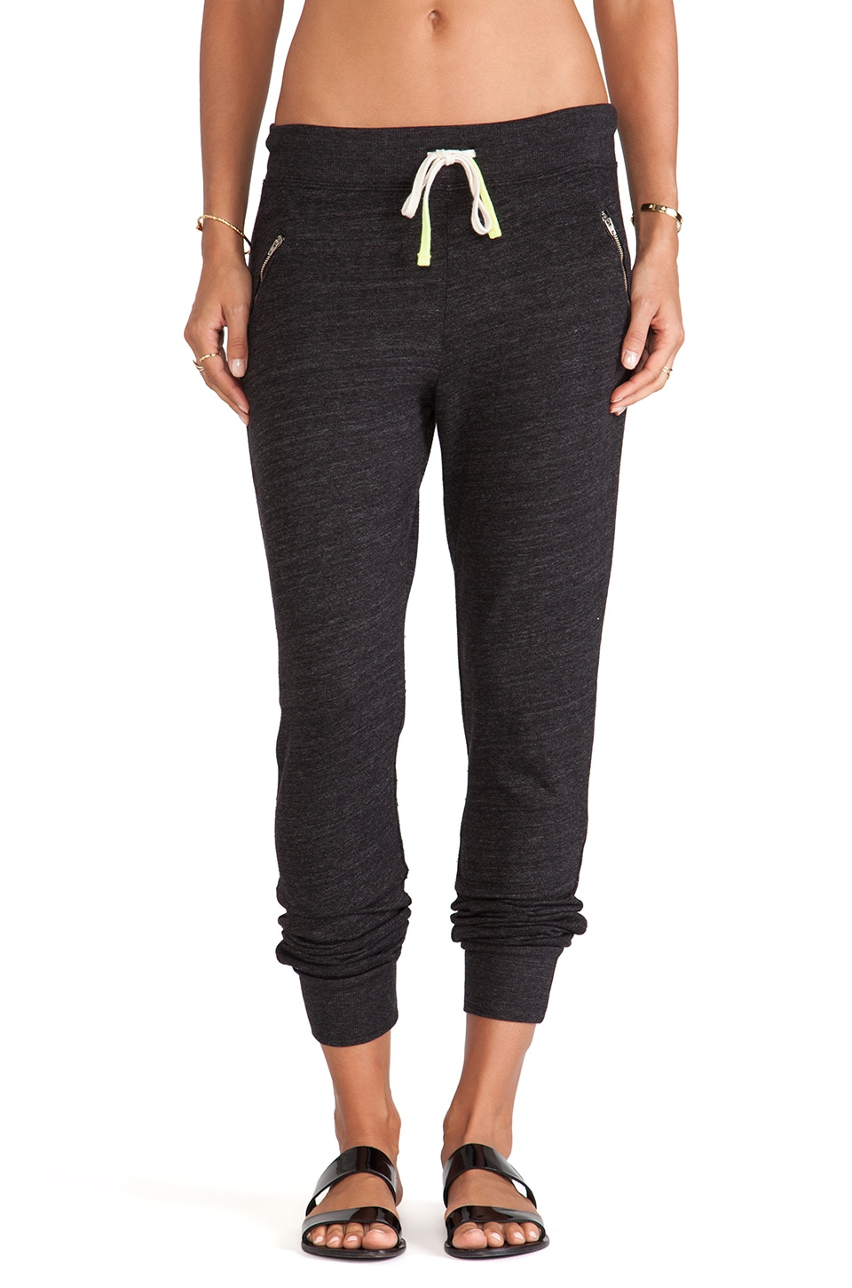 SUNDRY Zipper Sweatpant in Black