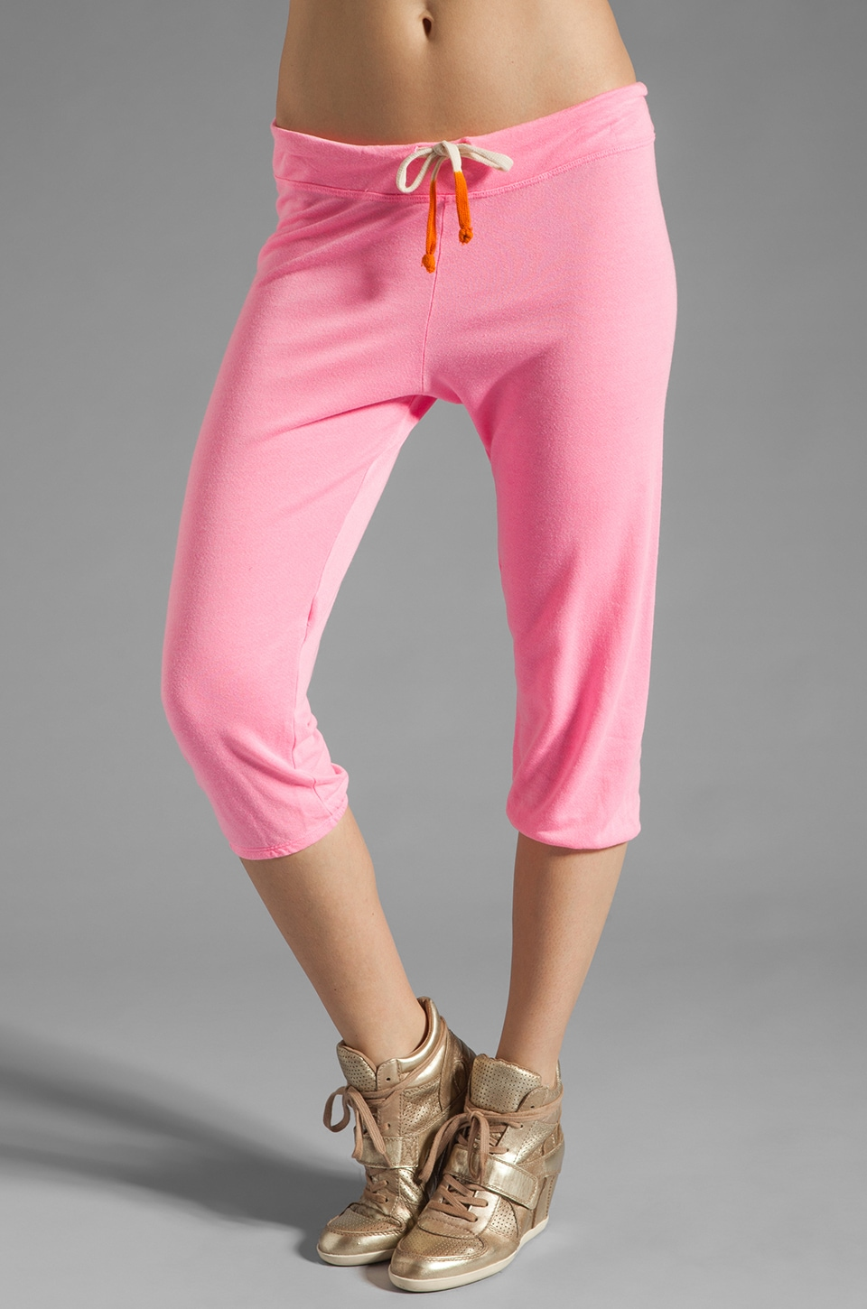 SUNDRY Light Terry Capri Pant in Neon Pink
