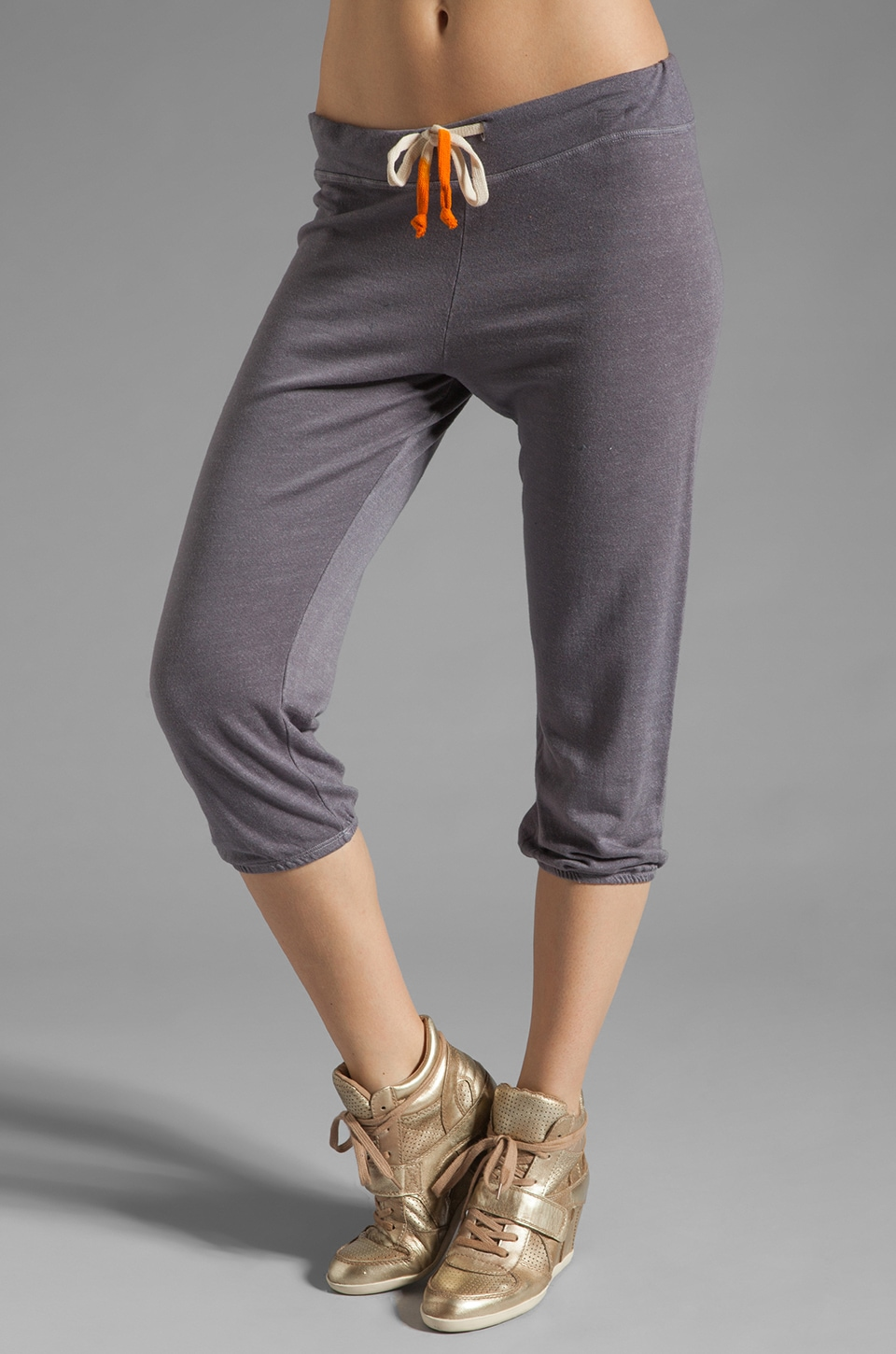 SUNDRY Light Terry Capri Pant in Graphite