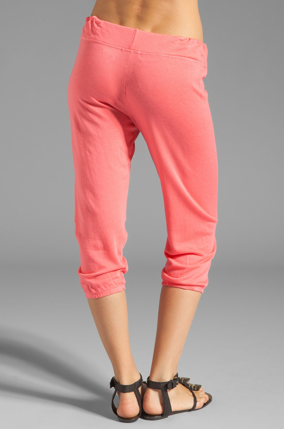 SUNDRY Light Terry Capri Pant in Hibiscus