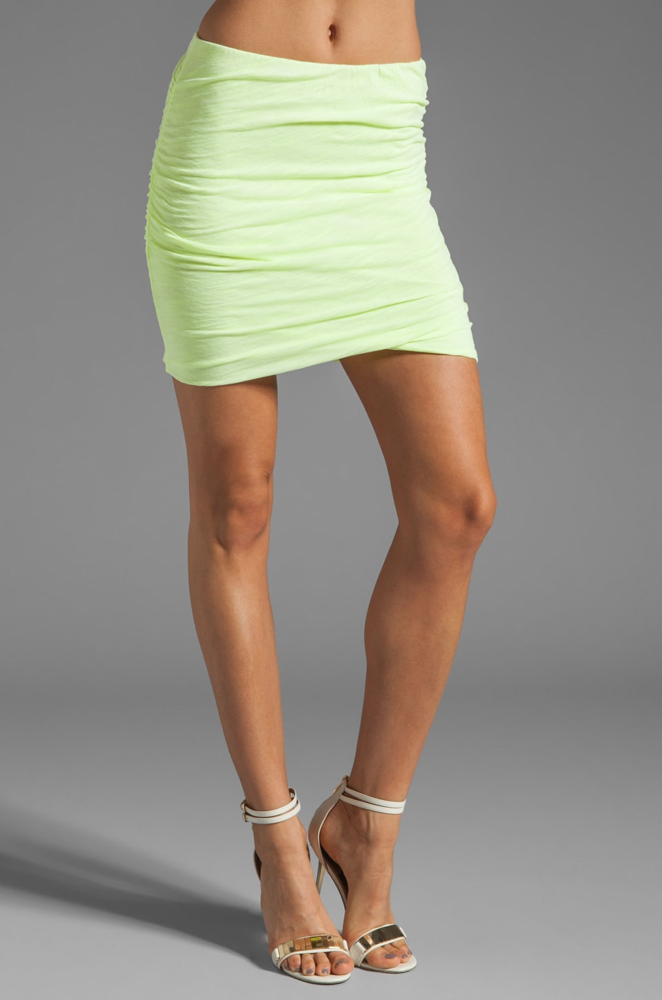 SUNDRY Slub Ruched Skirt in Neon Citron