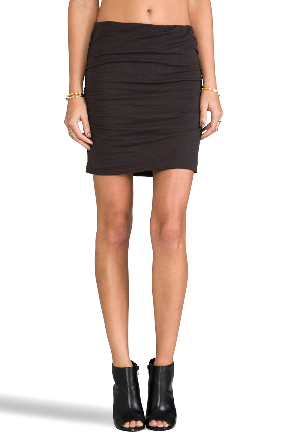 SUNDRY Ruched Skirt in Old Black
