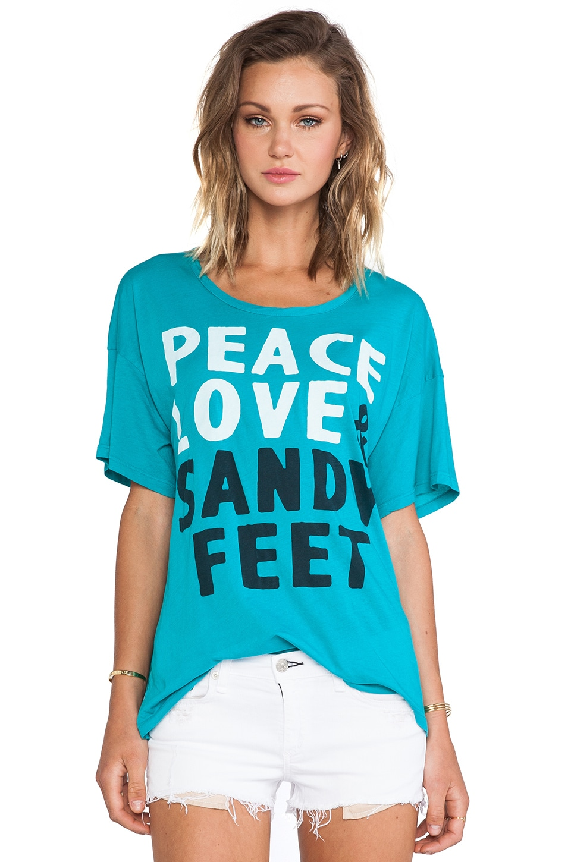 SUNDRY Peace Loose Tee in Teal