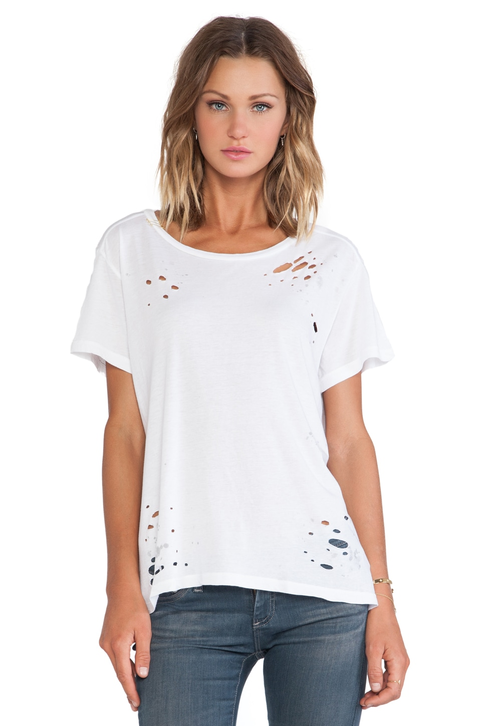 SUNDRY Destroyed Loose Tee in White