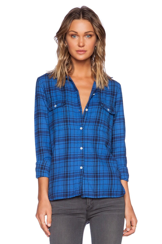 SUNDRY Plaid Basic Shirt in Sapphire