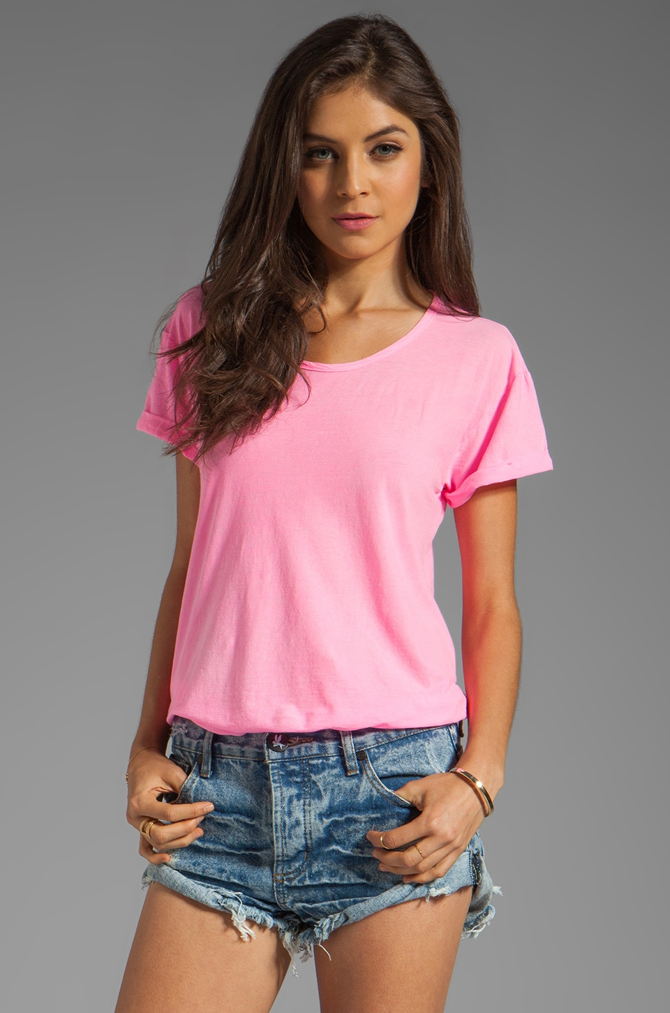 SUNDRY Ex Boyfriend Tee in Pop Pink