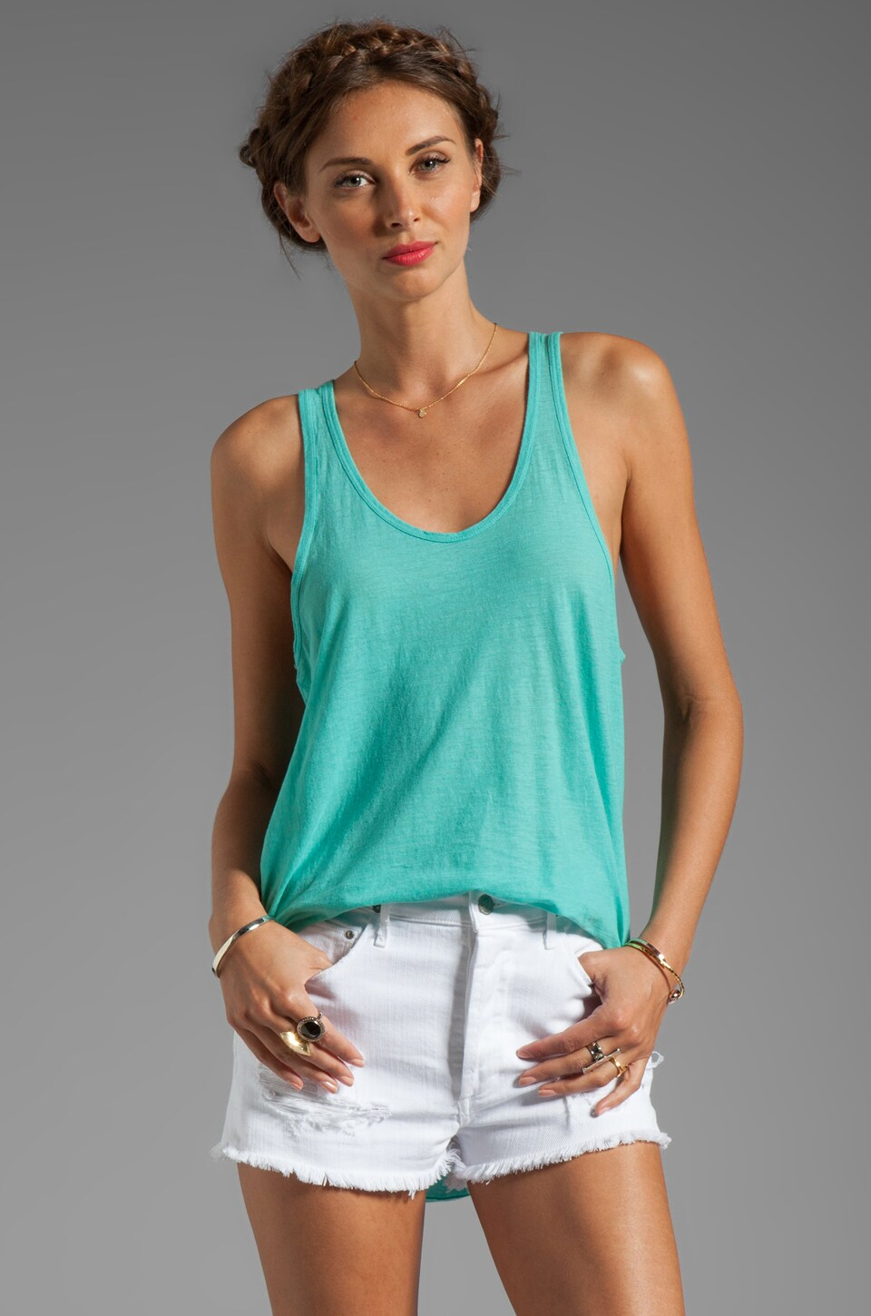 SUNDRY Racer Back Tank in Turquoise