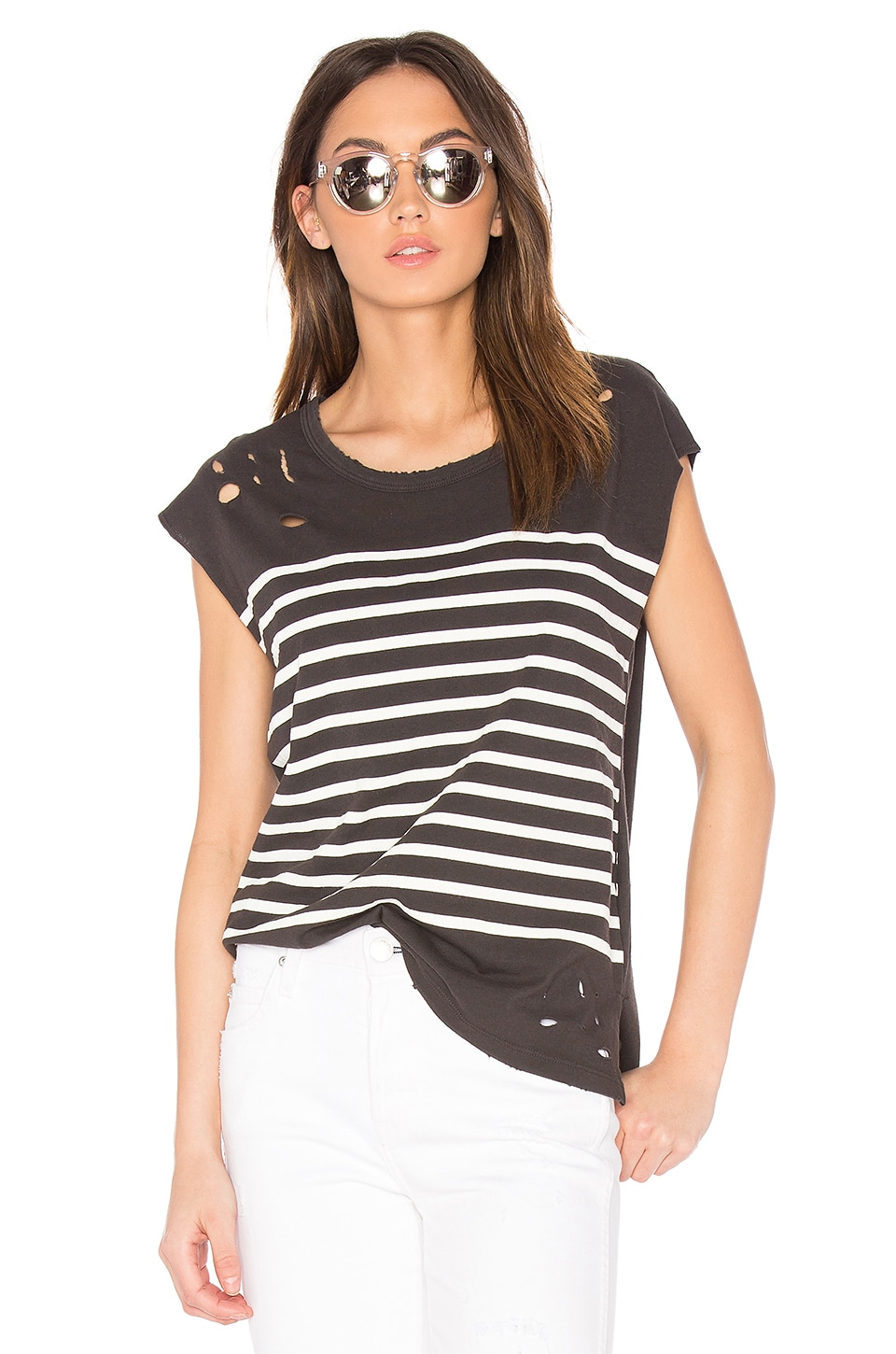 Distressed Stripe Tee by SUNDRY
