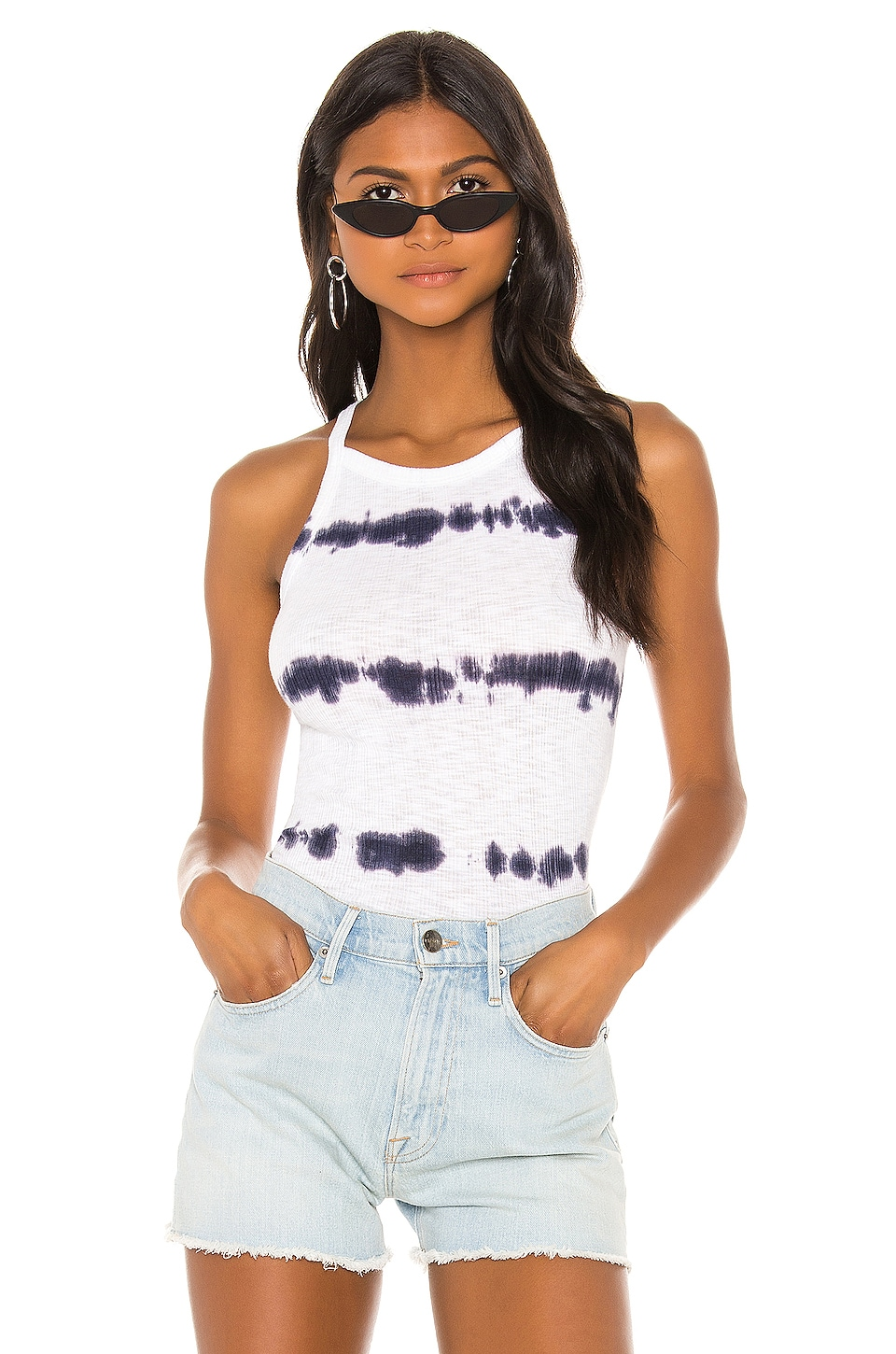 SUNDRY Tie Dye Strappy Tank Top in White