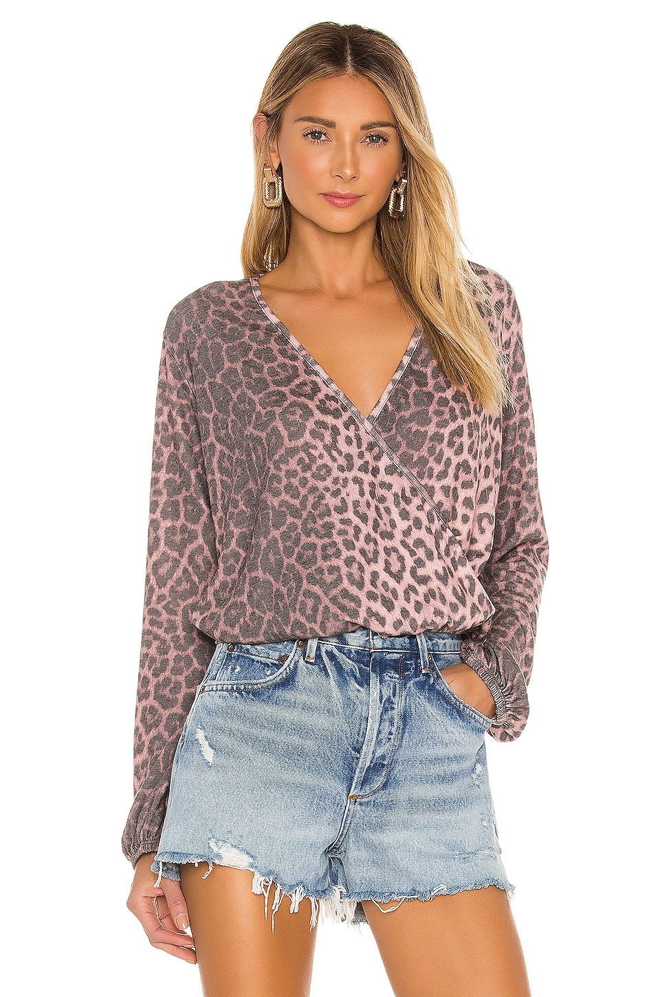 SUNDRY Animal Print Crossover Sweater in Pink