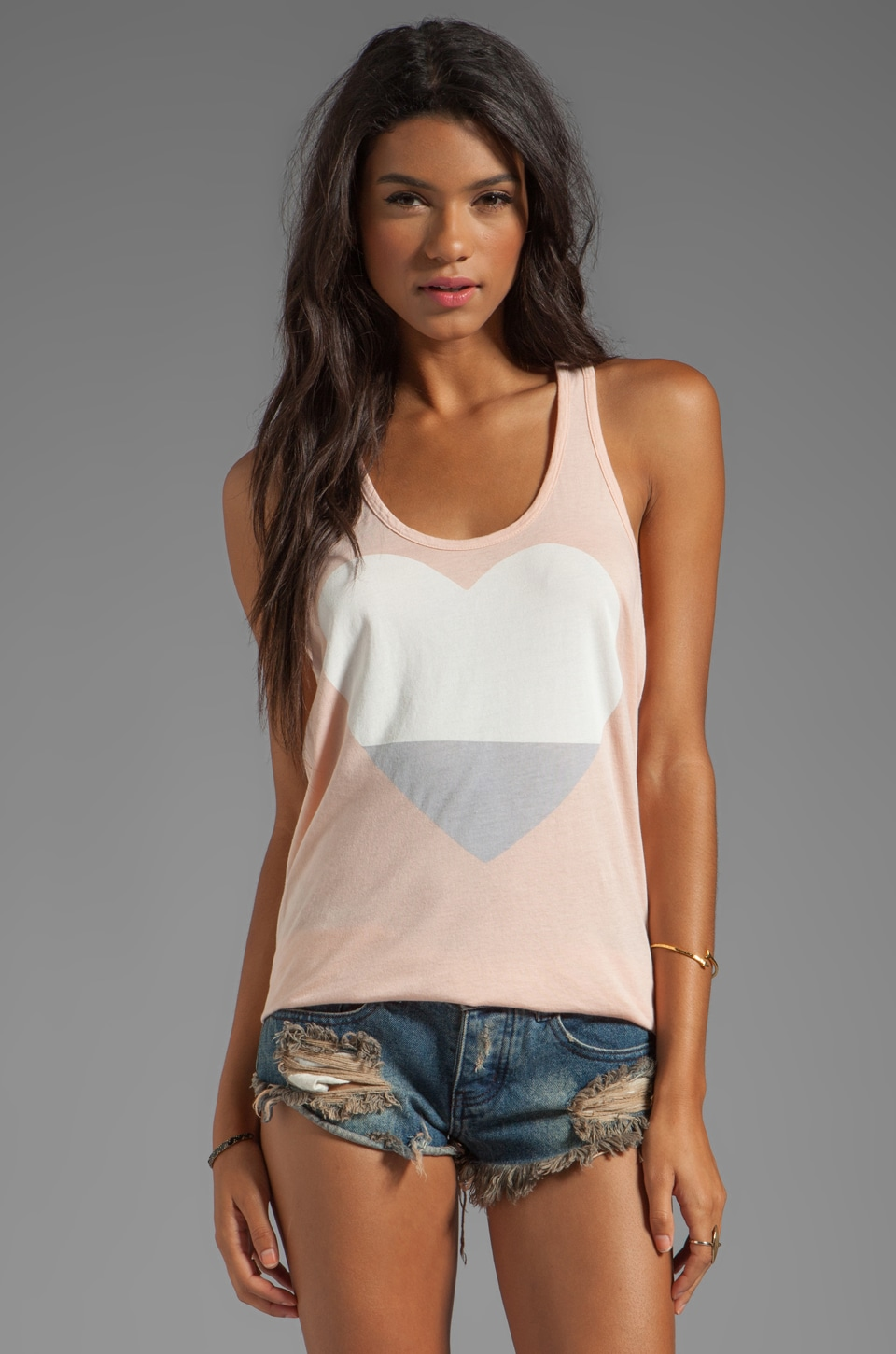 SUNDRY Heart Basic Tank in Nude