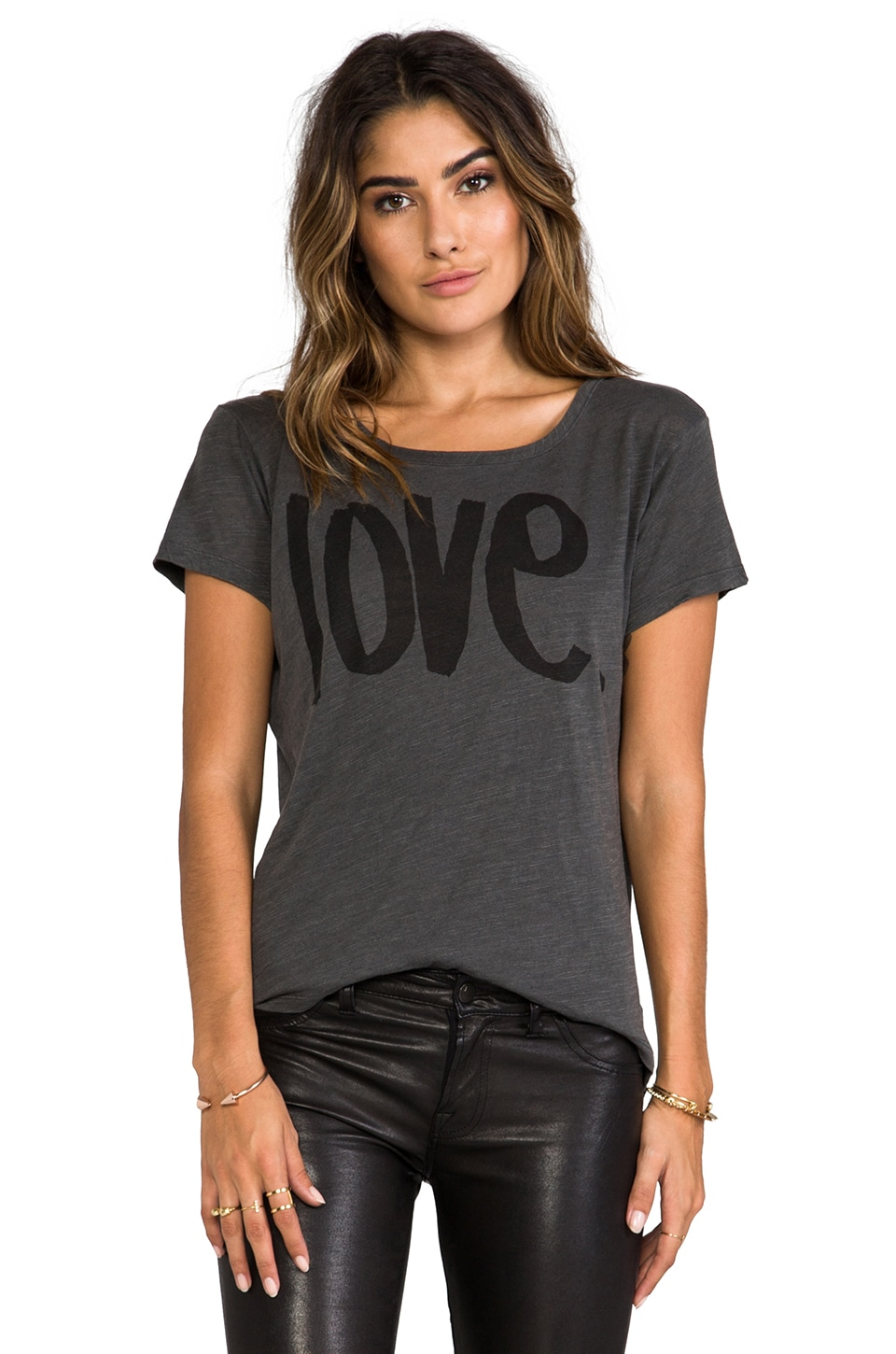 SUNDRY Love Loose Crew in Old Black