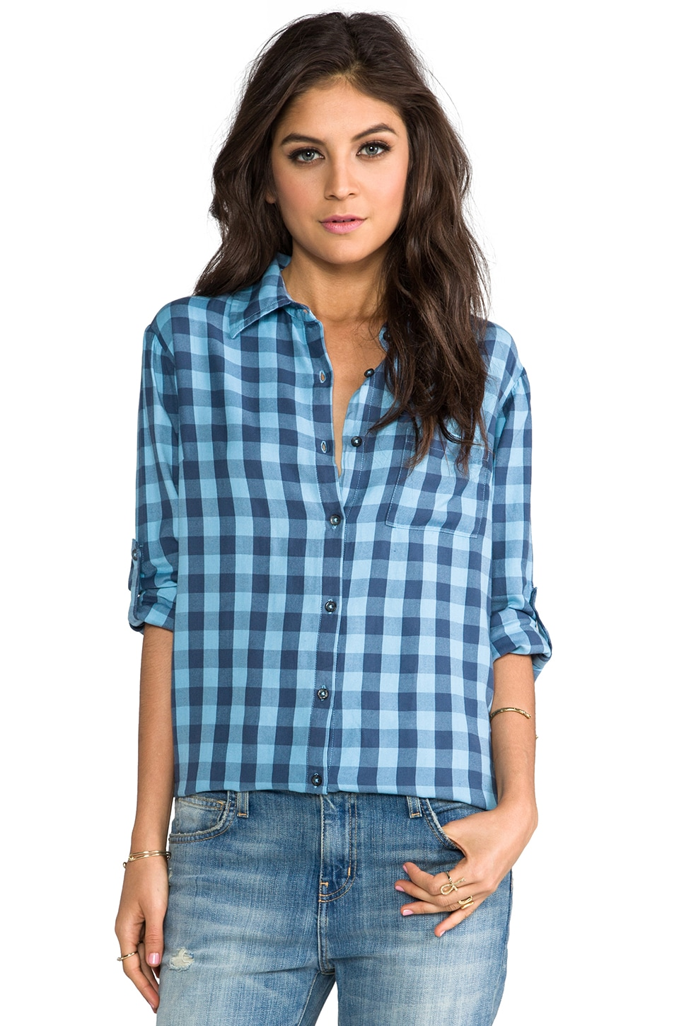SUNDRY Button Up Flannel Shirt in Aqua