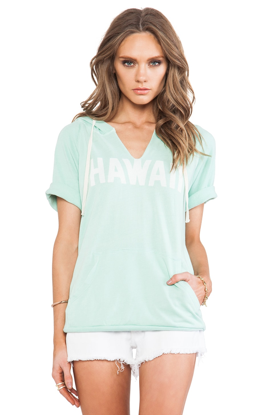 SUNDRY Hawaii Short Sleeve Hoodie in Dark Mint