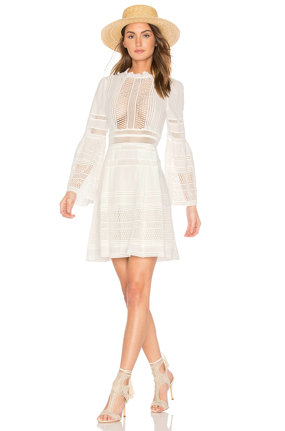 Sea Baja Lace Long Sleeve Dress in White