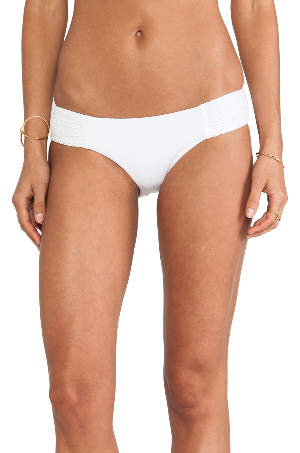 Seafolly Net Effect Ruched Side Bottom in White