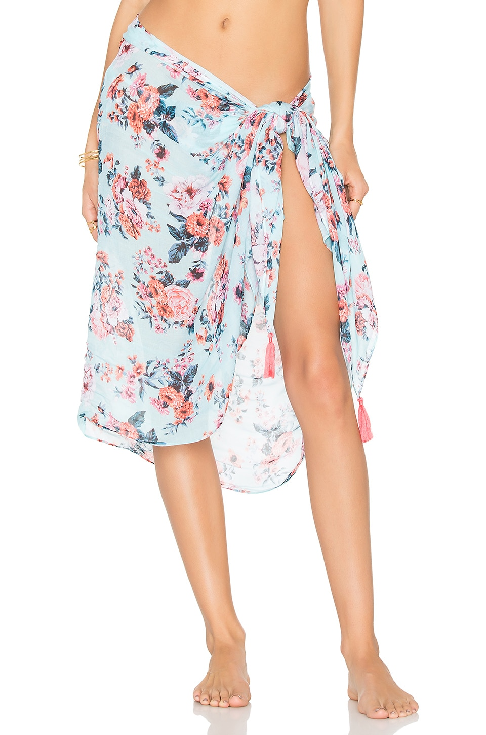 Seafolly Antique Floral Sarong in Pastel Turquoise