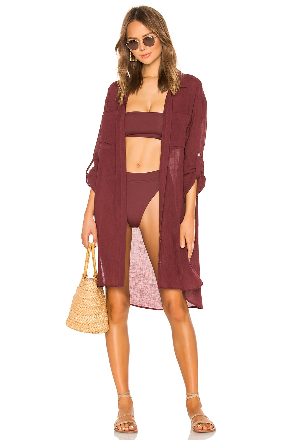 Seafolly Crinkle Twill Beach Shirt in Plum
