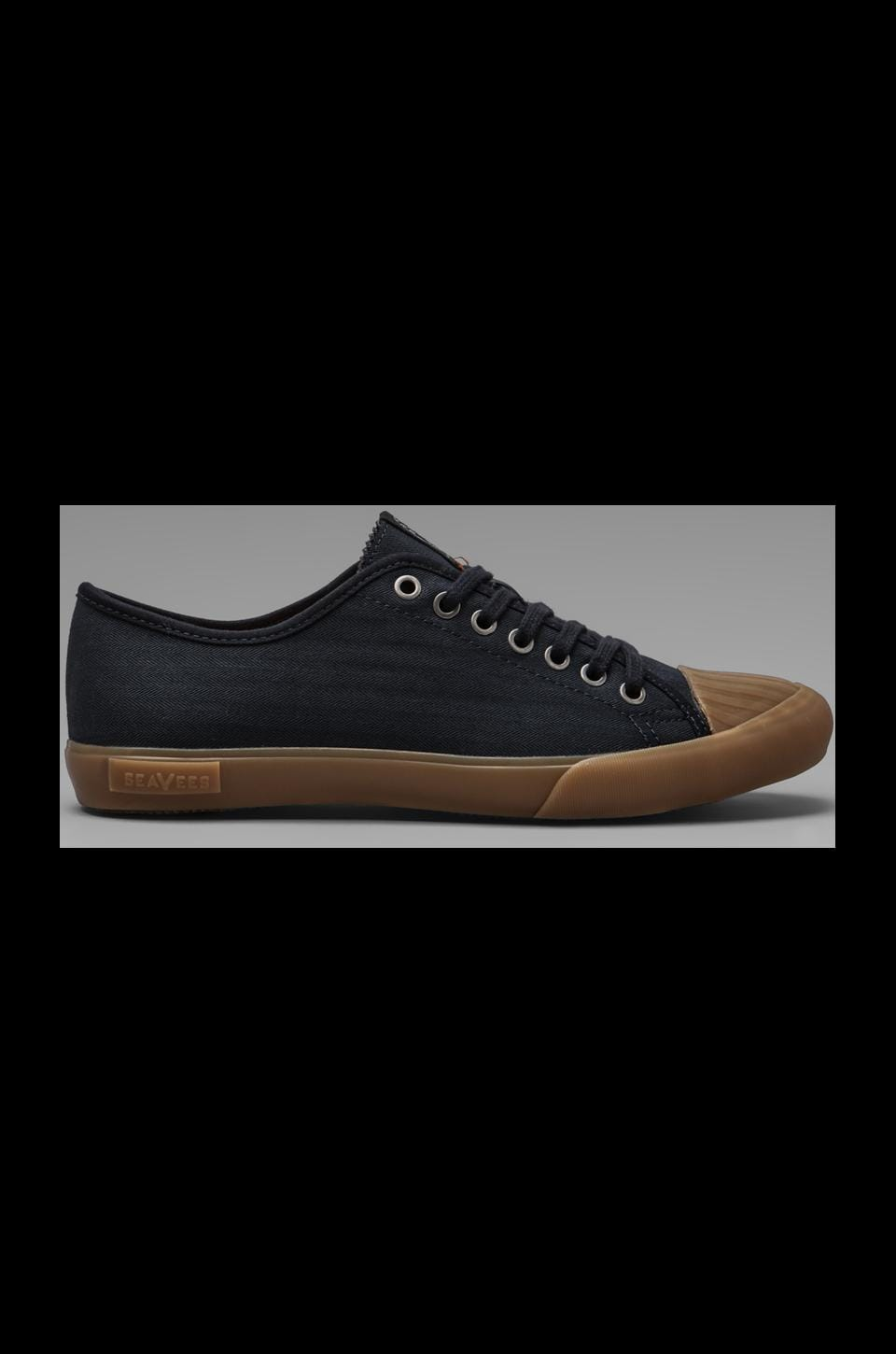 SeaVees x Todd Snyder Army Issue Low Top in Navy Herringbone